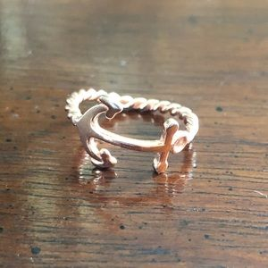 Jewelry - Gold fashion anchor rope ring